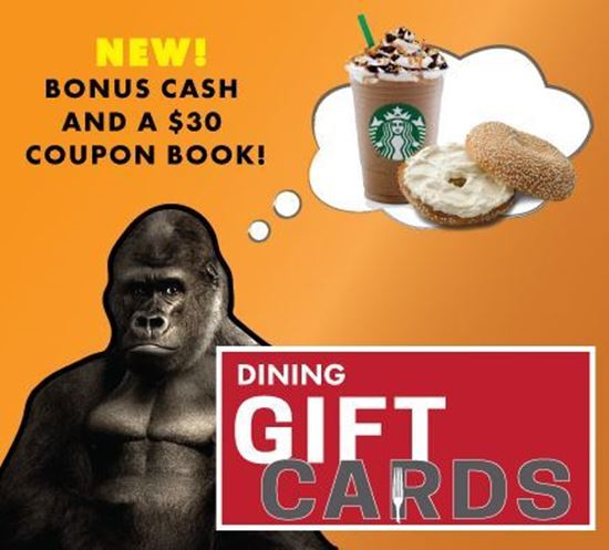 new! bonus cash and a $30 coupon book! dining gift cards